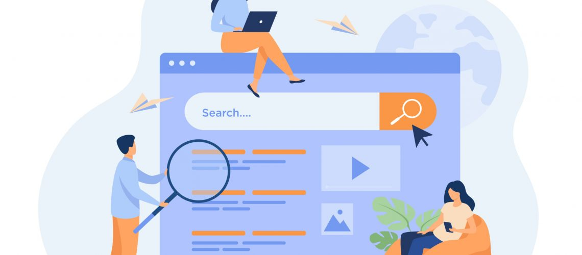 People using search box for query, engine giving result. Vector illustration for SEO work, SERP, online promotion, content marketing concept